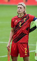Belgium's captain Sebastiaan Bornauw is pictured during the line up before a soccer game between the national teams Under21 Youth teams of Belgium and Germany on the 5th matday in group 9 for the qualification for the Under 21 EURO 2021 , on tuesday 8 th of September 2020  in Leuven , Belgium . PHOTO SPORTPIX.BE | SPP | SEVIL OKTEM
