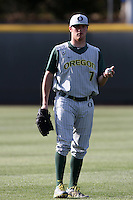 Billy Flamion #7 of the Oregon Ducks before a game against the UCLA Bruins at Jackie Robinson Stadium on April 6, 2012 in Los Angeles,California. Oregon defeated UCLA 8-3.(Larry Goren/Four Seam Images)
