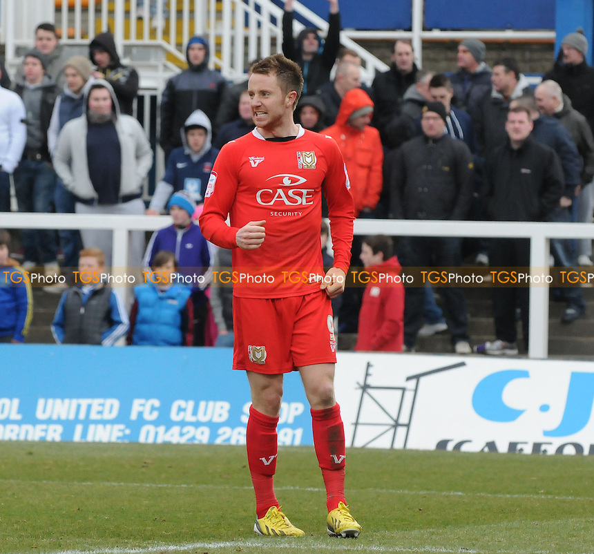 Dean Bowditch of MK Dons celebrates scoring MK Dons' second - Hartlepool United vs MK Dons - NPower League One Football at Victoria Park, Hartlepool - 29/03/13 - MANDATORY CREDIT: Steven White/TGSPHOTO - Self billing applies where appropriate - 0845 094 6026 - contact@tgsphoto.co.uk - NO UNPAID USE
