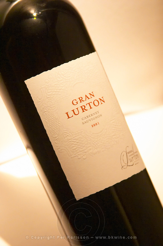 A bottle of Gran Lurton Cabernet Sauvignon Bodega Jacques and Francois Lurton Mendoza Valle de Uco 2001 The Dolly Irigoyen - famous chef and TV presenter - private restaurant, Buenos Aires Argentina, South America Espacio Dolli