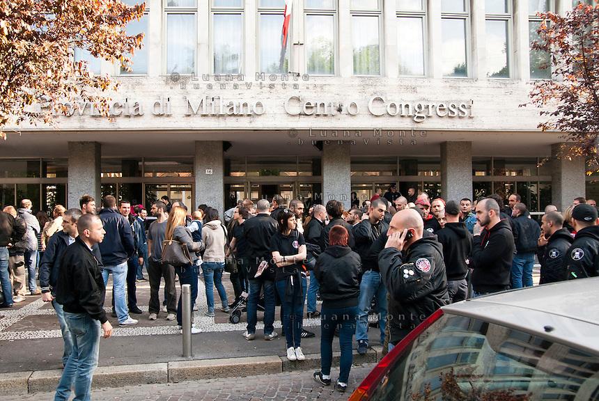 Iniziativa gruppi di estrema destra nella sala della Provincia. Milano, 29 aprile 2012.....Fair right groups meeting at Province Hall. Milan, April 29, 2012