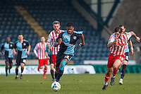 Rowan Liburd of Wycombe Wanderers in action during the Sky Bet League 2 match between Wycombe Wanderers and Stevenage at Adams Park, High Wycombe, England on 12 March 2016. Photo by Andy Rowland/PRiME Media Images.