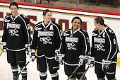 Kendra Goodrich (PC - 22), Lauren Klein (PC - 24), Arianna Reid (PC - 18), Lexi Romanchuk (PC - 8) - The Boston College Eagles defeated the visiting Providence College Friars 7-1 on Friday, February 19, 2016, at Kelley Rink in Conte Forum in Boston, Massachusetts.