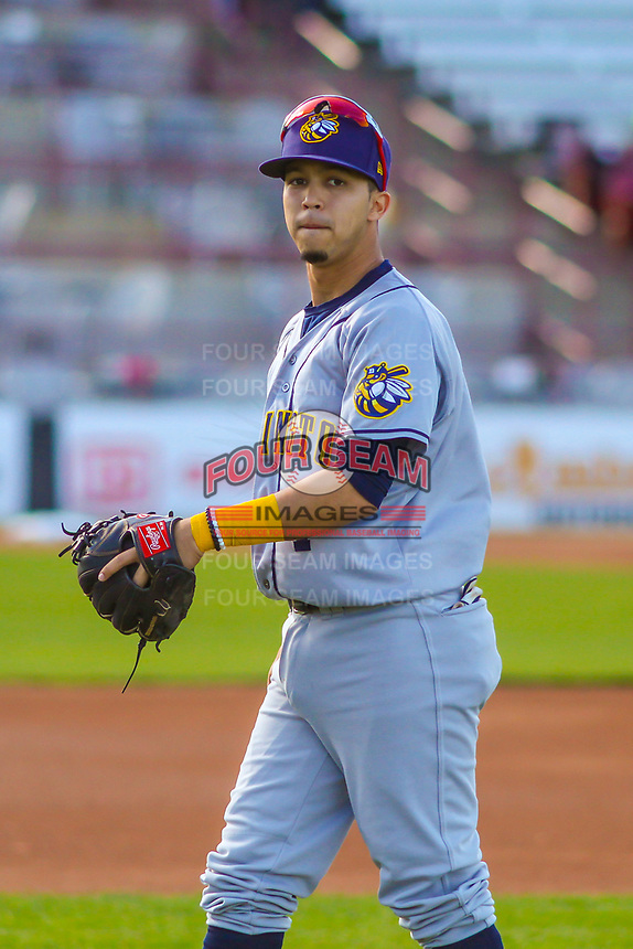 Burlington Bees shortstop Livan Soto (7) prior to a Midwest League game against the Wisconsin Timber Rattlers on April 26, 2019 at Fox Cities Stadium in Appleton, Wisconsin. Wisconsin defeated Burlington 2-0. (Brad Krause/Four Seam Images)