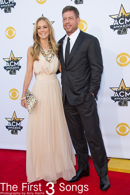 Former Dallas Cowboys quarterback Troy Aikman and Model Tracy Ripsin attend the 50th Academy Of Country Music Awards at AT&T Stadium on April 19, 2015 in Arlington, Texas.