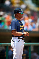 Montgomery Biscuits coach Gary Redus (20) during a game against the Biloxi Shuckers on May 8, 2018 at Montgomery Riverwalk Stadium in Montgomery, Alabama.  Montgomery defeated Biloxi 10-5.  (Mike Janes/Four Seam Images)