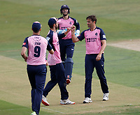 Tim Murtagh (R) of Middlesex is congratulated after taking the wicket of Joe Denly during Kent Spitfires vs Middlesex, Vitality Blast T20 Cricket at The Spitfire Ground on 16th September 2020