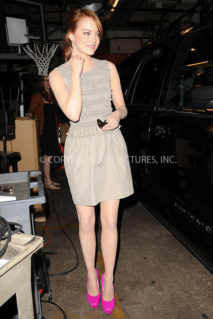 "WWW.ACEPIXS.COM . . . . . .August 11, 2011 New York City....Emma Stone leaves ""Live with Regis and Kelly "" on August 11, 2011 in New York City....Please byline: KRISTIN CALLAHAN - ACEPIXS.COM.. . . . . . ..Ace Pictures, Inc: ..tel: (212) 243 8787 or (646) 769 0430..e-mail: info@acepixs.com..web: http://www.acepixs.com ."