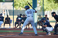 AZL Padres 1 Joshua Mears (48) at bat in front of catcher Yainer Diaz (4) during an Arizona League game against the AZL Indians Red on June 23, 2019 at the Cleveland Indians Training Complex in Goodyear, Arizona. AZL Indians Red defeated the AZL Padres 1 3-2. (Zachary Lucy/Four Seam Images)