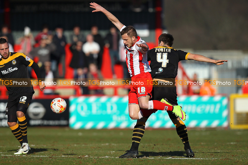 Dean Parrett of Stevenage tangles with Max Porter of Newport County - Stevenage vs Newport County - Sky Bet League Two Football at the Lamex Stadium, Broadhall Way, Stevenage - 07/03/15 - MANDATORY CREDIT: Gavin Ellis/TGSPHOTO - Self billing applies where appropriate - contact@tgsphoto.co.uk - NO UNPAID USE