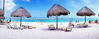 Mexico Quintana Roo Yucatan Peninsula Akumal Mayan Riviera,panoramic view of palapas on beach
