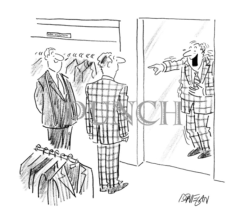 (Man in a new suit being laughed at by his reflection)
