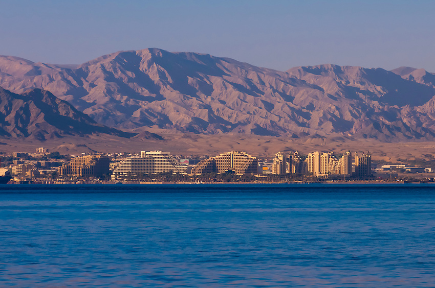View from Aqaba, Jordan across the Gulf of Aqaba (Red Sea) looking to Eilat, Israel.