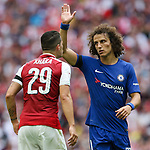 Granit Xhaka of Arsenal and David Luiz of Chelsea during the The FA Community Shield match at Wembley Stadium, London. Picture date 6th August 2017. Picture credit should read: Charlie Forgham-Bailey/Sportimage