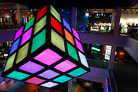 People attend 'Beyond Rubik's Cube' exibition at Liberty Science Center during the 40th anniversary of his famous cube  in Jersey City , April 26, 2014. Invented in 1974 by Professor Erno Rubik, the Rubik's cube becoming the world's fastest-selling toy. VIEWPRESS/Kena Betancur