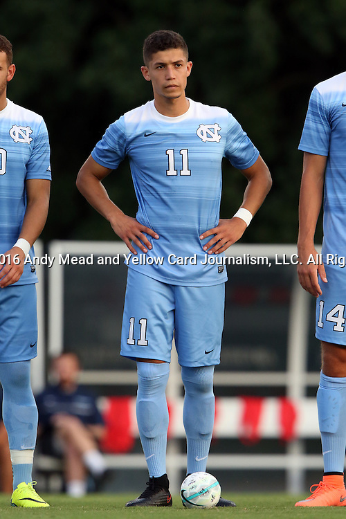 28 August 2016: North Carolina's David October (ENG). The University of North Carolina Tar Heels hosted the Saint Louis University Billikens at Fetter Field in Chapel Hill, North Carolina in a 2016 NCAA Division I Men's Soccer match. UNC won the game 3-0.