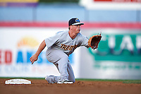 Trenton Thunder second basmean Tony Renda (9) waits for a throw during a game against the Binghamton Mets on August 8, 2015 at NYSEG Stadium in Binghamton, New York.  Trenton defeated Binghamton 4-2.  (Mike Janes/Four Seam Images)