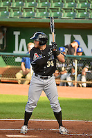 Stewart Ijames (34) of the Missoula Osprey at bat against the Ogden Raptors in Pioneer League action at Lindquist Field on August 4, 2014 in Ogden, Utah.  (Stephen Smith/Four Seam Images)