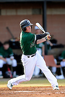 Right fielder Tyler Lesch (2) of the University of South Carolina Upstate Spartans bats in a game against the Citadel Bulldogs on Tuesday, February, 18, 2014, at Cleveland S. Harley Park in Spartanburg, South Carolina. Upstate won, 6-2. (Tom Priddy/Four Seam Images)