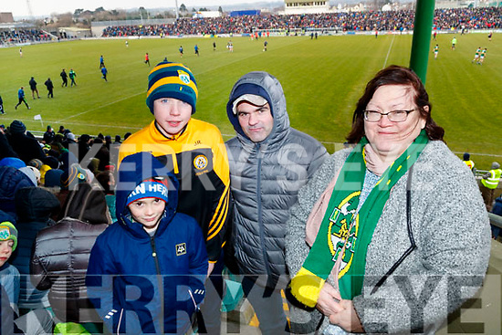 Jamie O'Shea, Joe Reidy, Paddy O'Brien, Kathy Ivory, Sneem and Killarney, cheering on Kerry, at the Allianz Football League Kerry v Galway, at Austin Park, Tralee, on Sunday last.