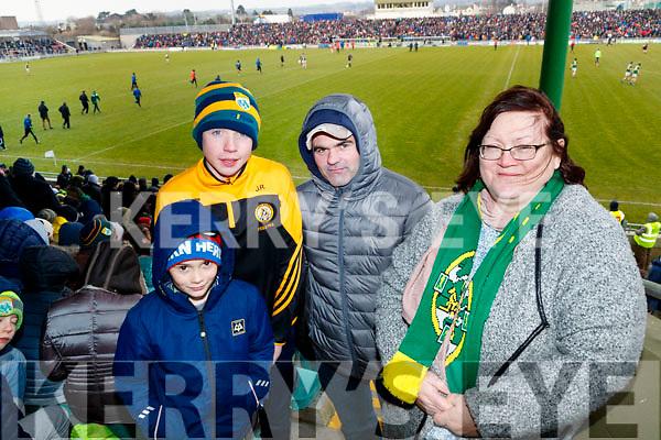 Jamie O'Shea, Joe Reidy, Paddy O'Brien, Kathy Ivory, Sneem and Killarney, cheering on Kerry, at the Allianz Football League Kerry v Galway, at Austin Park, Tralee, on Sunday last.