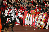 14th September 2017, Emirates Stadium, London, England; UEFA Europa League Group stage, Arsenal versus FC Cologne; FC Koln fans chanting before kick off, as Police dogs  control