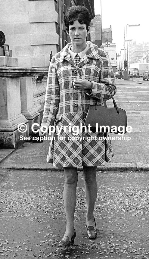Mrs Eileen McCabe, leaving a Belfast Court in March 1970 after being awarded &pound;8000 compensation for the death of her husband, Trooper Hugh McCabe, Queen's Royal Irish Hussars, in August 1969. Trooper McCabe, who was shot in disputed circumstances by police firing from Hastings Street RUC Station. At the time Trooper McCabe was on leave from his regiment in Germany and in the vicinity of his family home in the Divis Flats complex. 197003000122a<br />