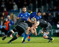 28th February 2020; RDS Arena, Dublin, Leinster, Ireland; Guinness Pro 14 Rugby, Leinster versus Glasgow; Ryan Baird of Leinster is tackled by Aki Seiuli and Callum Gibbins of Glasgow