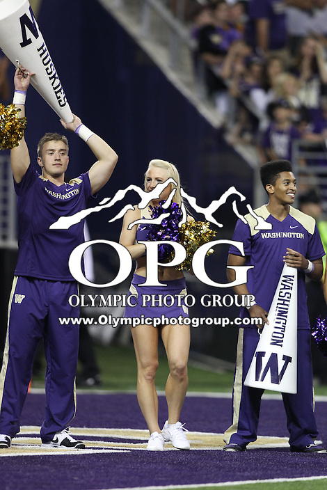 2013-08-31:  Washington cheer member Jenna Donohue entertained fans during the game against Boise State.  Washington defeated  Boise State 38-6 at Boise State in Seattle, WA.