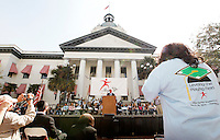 TALLAHASSEE, FLA. 3/24/10-STEPUP32410 CH-Gov. Charlie Crist speaks to some 5,500 students, parents and educators from across Florida who came to the Capitol to urge lawmakers to level the playing field for Tax Credit Scholarships Wednesday in Tallahassee. The event was the largest parental choice rally in the nation. The scholarships serve 27,600 low-income students in 1,020 private schools in Florida. The Legislature is considering a bill to expand and strengthen the program..COLIN HACKLEY PHOTO .