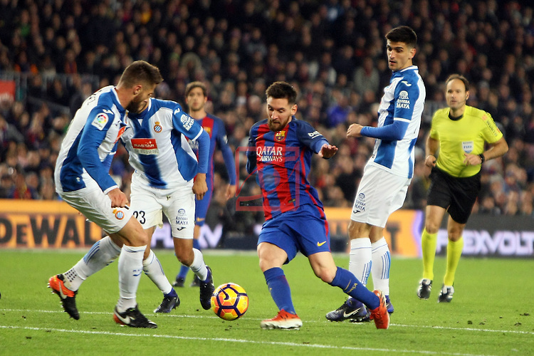 League Santander 2016/2017. Game: 16.<br /> FC Barcelona vs RCD Espanyol: 4-1.<br /> David Lopez, Diego Reyes, Lionel Messi &amp; Gerard Moreno.