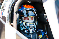 Jul 11, 2020; Clermont, Indiana, USA; NHRA top fuel driver Cory McClenathan during qualifying for the E3 Spark Plugs Nationals at Lucas Oil Raceway. This is the first race back for NHRA since the start of the COVID-19 global pandemic. Mandatory Credit: Mark J. Rebilas-USA TODAY Sports