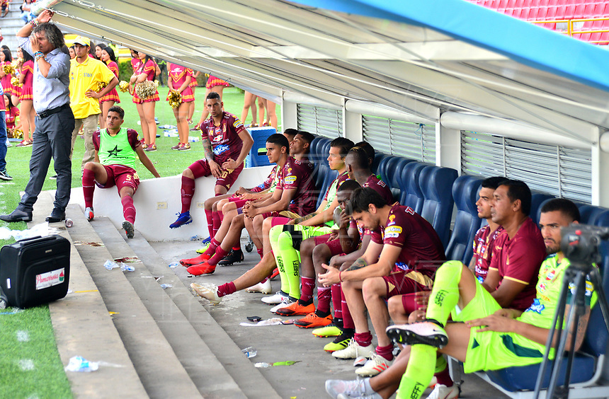 IBAGUÉ-COLOMBIA , 27 -01-2019 .Decepción de los jugadores del Deportes Tolima  al perder la Superilga 2019 con el Atlético Junior durante partido por  la final de la Superliga Liga Águila  2019 jugado en el estadio Manuel Murillo Toro de la ciudad de Ibagué./Sadness of players of Deportes Tolima to lose the Superilga 2019 with Atlético Junior during the final match of the Super League Liga Aguila 2019 played at the Manuel Murillo Toro stadium in the city of Ibagué. during the match for the final of Superliga  Aguila 2019 played at Manuel Murillo Toro  stadium in Ibague city. Photo: VizzorImage/ Juan carlos Escobar/ Contribuidor