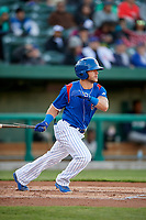 South Bend Cubs right fielder Brandon Cummins (11) follows through on a swing during a game against the Clinton LumberKings on May 5, 2017 at Four Winds Field in South Bend, Indiana.  South Bend defeated Clinton 7-6 in nineteen innings.  (Mike Janes/Four Seam Images)