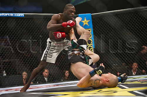 24.06.2011, Washinton, USA.  Derek Brunson tangles with Jeremy Hamilton during the STRIKEFORCE Challengers at the ShoWare Center in Kent, Washington. Brunson won by unanimous decision.