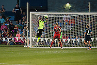 Kansas City, Mo. - Saturday April 23, 2016: FC Kansas City goalkeeper Nicole Barnhart (18) leaps to defend a scoring attempt by Portland Thorns FC during a match at Swope Soccer Village. The match ended in a 1-1 draw.