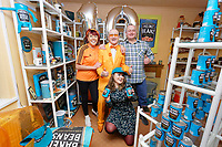 Pictured: Captain Beany with guests and friends. Sunday 27 January 2019<br /> Re: 10 year anniversary of the Baked Bean Museum of Excellence, owned by Captain Beany (real name Barry Kirk) in a Council flat in Port Talbot, south Wales, UK.