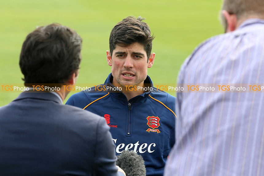 Alastair Cook of Essex is centre of media attention during the Essex CCC Press Day at The Cloudfm County Ground on 5th April 2017