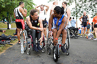 Liz McTernan and Minda chat prior to competing in the Aquaphor New York City Trithalon in New York on July 8, 2012.