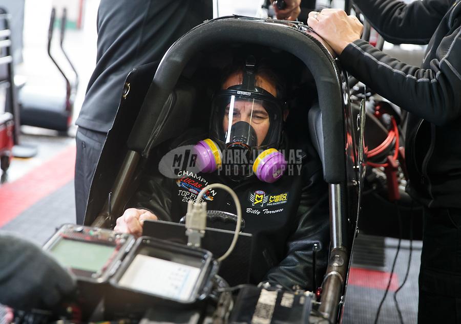 Feb 10, 2019; Pomona, CA, USA; NHRA top fuel driver Billy Torrence during the Winternationals at Auto Club Raceway at Pomona. Mandatory Credit: Mark J. Rebilas-USA TODAY Sports
