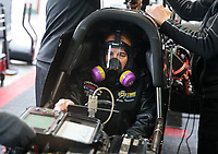 Feb 10, 2019; Pomona, CA, USA; NHRA top fuel driver Billy Torrence during the Winternationals at Auto Club Raceway at Pomona. Mandatory Credit: Mark J. Rebilas-USA TODAY Sports