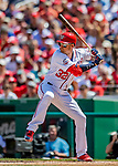 14 April 2018: Washington Nationals catcher Matt Wieters at bat in the 4th inning against the Colorado Rockies at Nationals Park in Washington, DC. The Nationals rallied to defeat the Rockies 6-2 in the 3rd game of their 4-game series. Mandatory Credit: Ed Wolfstein Photo *** RAW (NEF) Image File Available ***