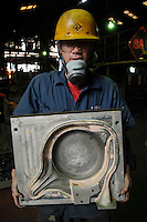 "A mold used to make iron pans, Oigen ""Nambu Tekki"" ironware foundry, Esashi, Iwate Prefecture, Japan, August 28 2008."