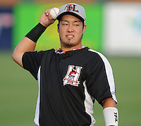 Outfielder Hirotoshi Onaka (1) of the Hickory Crawdads before a game against the Greenville Drive on Sunday, September 2, 2012, at Fluor Field at the West End in Greenville, South Carolina. Hickory won, 8-4. (Tom Priddy/Four Seam Images)