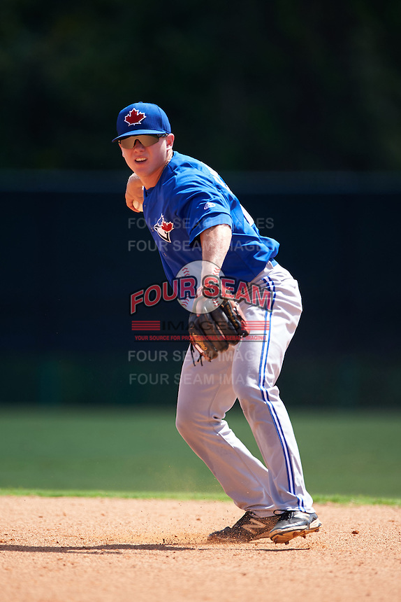 Toronto Blue Jays Andrew Guillotte (1) during practice before an instructional league game against the Atlanta Braves on September 30, 2015 at the ESPN Wide World of Sports Complex in Orlando, Florida.  (Mike Janes/Four Seam Images)