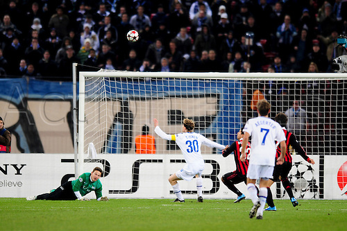8 December, 2009 - FC Zurich's goalkeeper Johnny Leoni watches as a gaol attempt goes high during UEFA Champions League qualifiers at Stadion Letzigrund in Zurich, Switzerland.  At the end of the match it was tied 1-1 but AC Milan will advance to the next round. Photo by John C Middlebrook/actionplus. UK Licenses Only