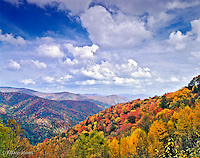 View of Oconaluftee River Valley in autumn, Great Smoky Mountains National Park, North Carolina.