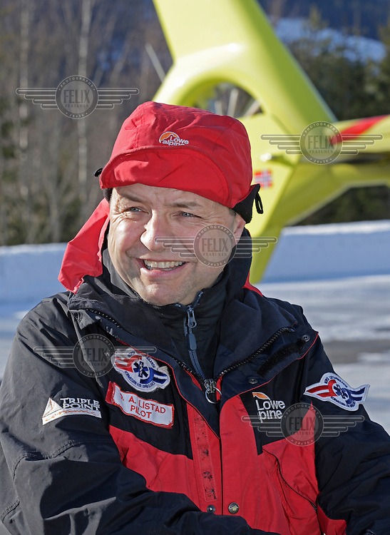 Crew from Norwegian Air Ambulance practice rescue skills at Camp Torpomoen, a training facility..Pilot Ole Anders Listad