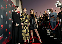 """LOS ANGELES - OCTOBER 26: (L-R) Sarah Paulson, Leslie Grossman and Billie Lourd attend the red carpet event to celebrate 100 episodes of FX's """"American Horror Story"""" at Hollywood Forever Cemetery on October 26, 2019 in Los Angeles, California. (Photo by John Salangsang/FX/PictureGroup)"""