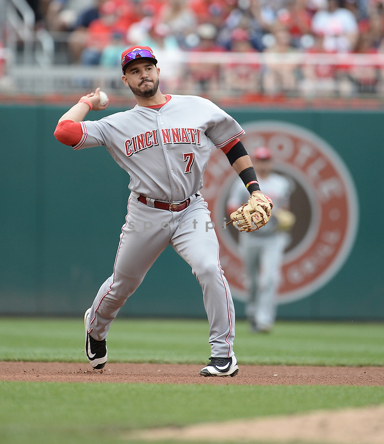 Cincinnati Reds Eugenio Suarez (7) during a game against the Washington Nationals on July 3, 2016 at Nationals Park in Washington DC. The Nationals beat the Reds 12-1.